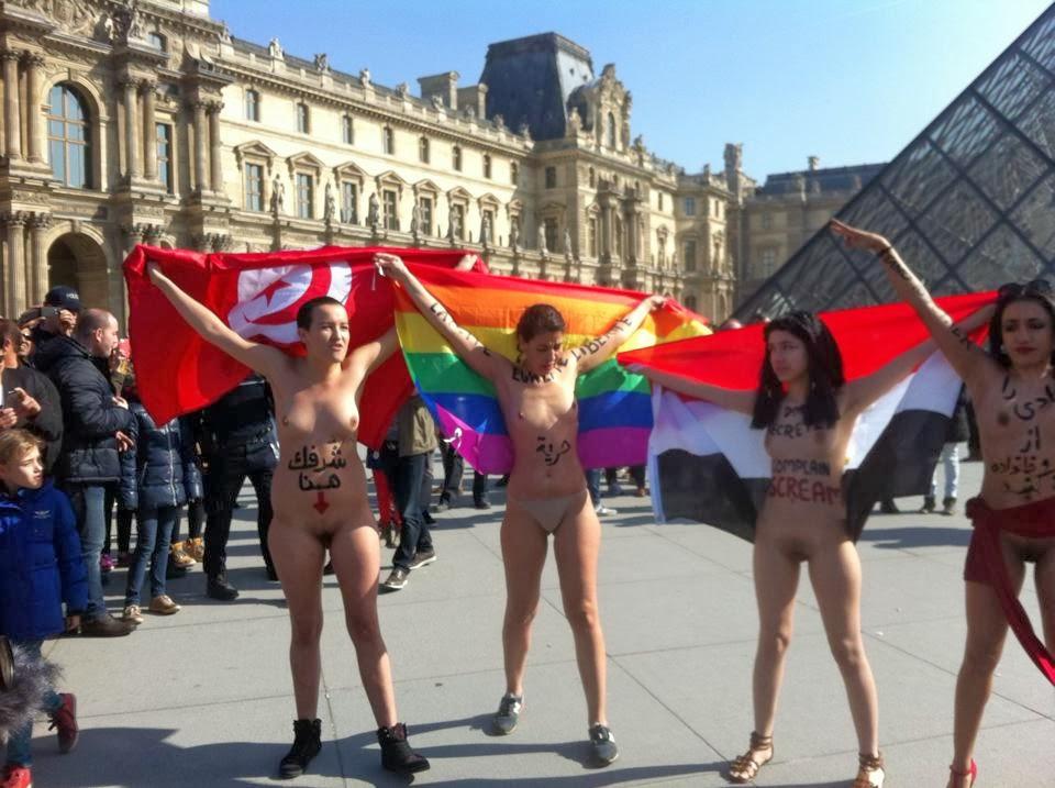 Nude dancing in Louvre Museum Square: Proud
